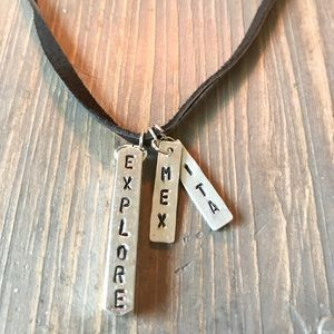 handmade Accessories - Hand stamped world travel charm necklace